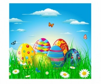 Vector Colorful Easter Eggs In Grass And Flowers Vector Art