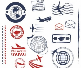 Vector Air Mail Ruber Stamps And Seals Vector Art