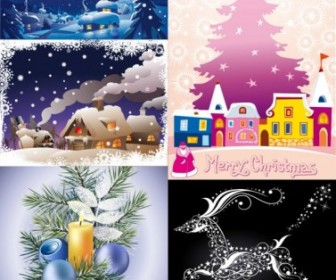 Vector Cartoon Christmas Ornaments Background Vector Art