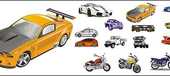 Vector Automobile And Motorcycle Material Car Vector Art