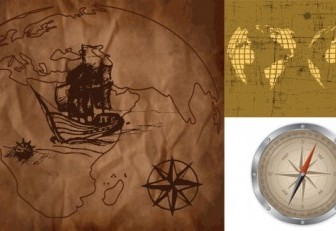 Vector Old Map And Compass Vector Art