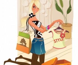 Vector Fashion Shopping Girl Illustration People Vector Art