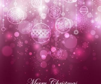 Vector Purple Christmas Decoration Background Vector Art
