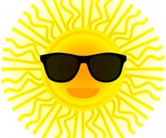 Vector Sun With Sunglasses Vector Clip Art