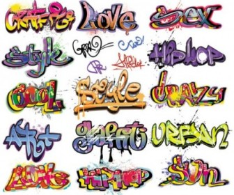 Vector Beautiful Graffiti Font Design 01 Vector Art