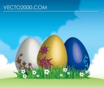 Vector Easter Eggs On Green Grass Vector Art