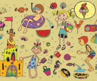 Vector Kids In Summer 01 Cartoon Vector Art
