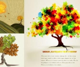Vector Autumn Trees Cartoon Pattern Background Vector Art