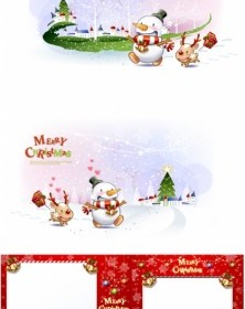 Vector Cute Snowman And Santa Claus 01 Christmas Vector Graphics