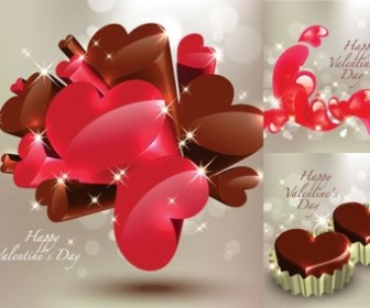 Vector Threedimensional Heartshaped Chocolate Heart Vector Art