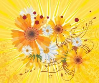 Vector Abstract Yellow Background Flower Vector Art