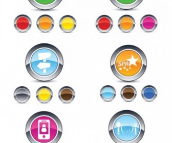 Vector Beautiful Glossy Round Button Web Icon Vector Graphics