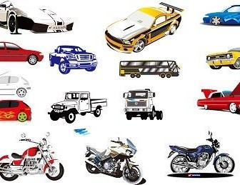 Vector 15 Motorcycle And Car Vector Art