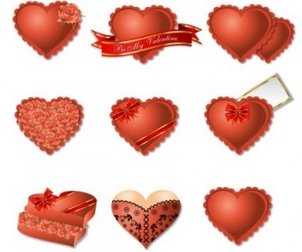 Vector Romantic Heartshaped Gift Box Packaging Heart Vector Art