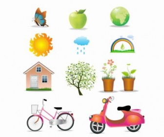 Vector Environment Set Icon Vector Graphics