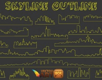 Vector Skyline Outline Vector Art