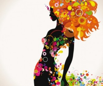 Vector Beautiful Fashionable Silhouette 02 Silhouettes Vector Graphics