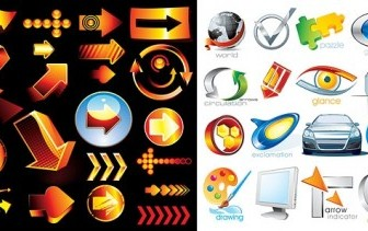 Vector 2 Sets Of 3d Style Icon Vector Graphics