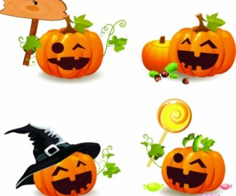 Vector Smile And Happy Halloween Pumpkins Vector Art