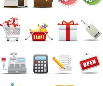 Vector Supermarket Shopping Icon Vector Graphics