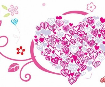 Vector Beautiful Heart With Ornament Floral Vector Art