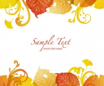 Vector Beautiful Autumn Leaf 03 Background Vector Art