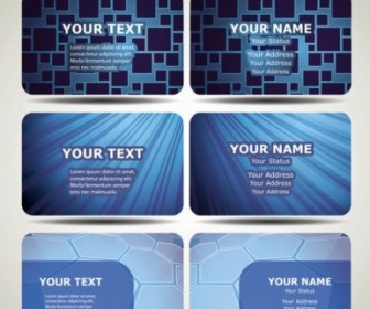 Vector Blue Technology Business Card Template 02 Vector Art