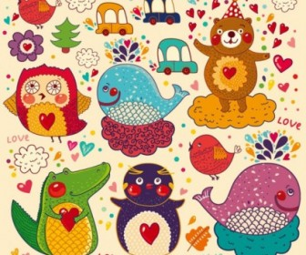 Vector Handpainted Cartoon 01 Pattern Vector Art