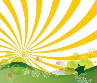 Vector Sunshine Landscape Vector Graphics