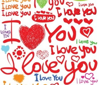 Vector Valentine Day Handpainted English Fonts Vector Clip Art