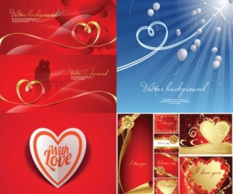 Vector Romantic Heartshaped Ribbon Background Vector Art
