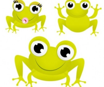 Vector Green Frog With Big Eyes Vector Art
