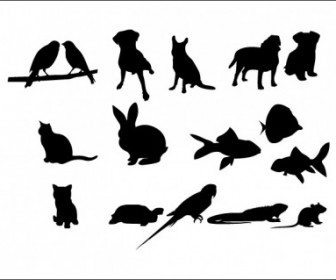 Vector 16 Pet Silhouettes Animal Vector Graphics