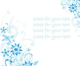 Vector Simple Handpainted Flowers And Blue Text Background Pattern 4 Flower Vector Art