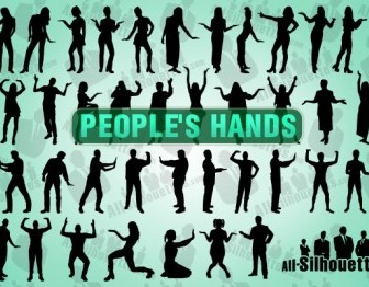 Vector People With Hands Silhouettes Vector Graphics
