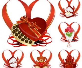 Vector Heartshaped Ribbon With A Gift Heart Vector Art
