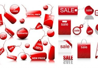 Vector Red Sales Discount Icon Vector Graphics