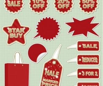 Vector Sticker Sales Discount Theme Icon Vector Graphics