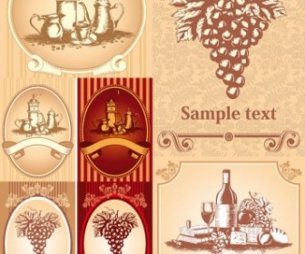 Vector Classic Europeanstyle Wine Bottle Stickers Vector Art