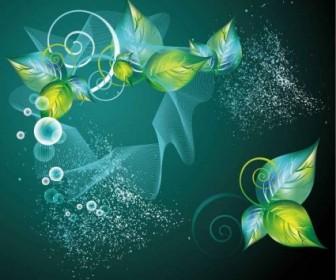 Vector Green Swirl Floral Background Vector Art