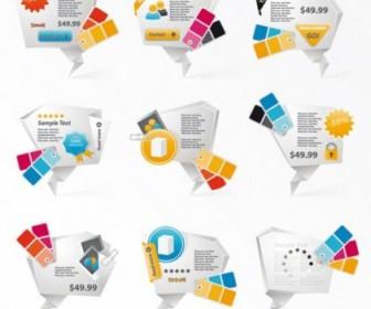 Vector Innovative Threedimensional Origami Icons 01 Icon Vector Graphics