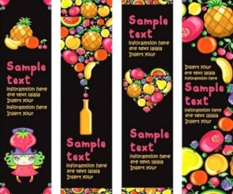 Vector Background Of Colorful Fruits And Material Vector Banner
