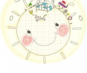 Vector Korea Cute Line Drawing 2 Family Vector Art
