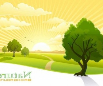 Vector Beautiful Scenery Background Vector Art