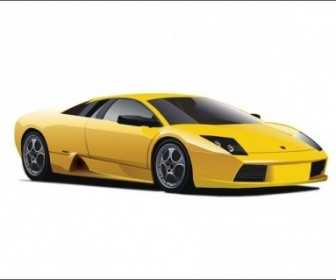 Vector Yellow Lamborghini Car Vector Art
