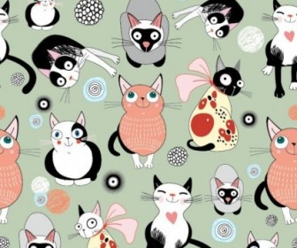 Vector Cartoon Cat 01 Background Vector Art