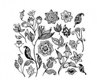 Vector Black And White Pattern Flower Vector Art