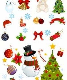 Vector Exquisite Christmas Ornaments Cartoon Vector Art