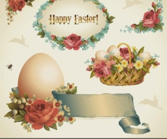 Vector Pastoral Style Easter Design Elements Background Vector Art