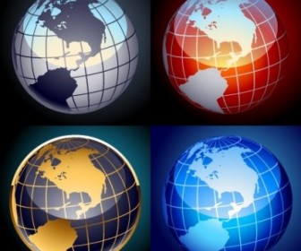Vector Set Of Globes Vector Art